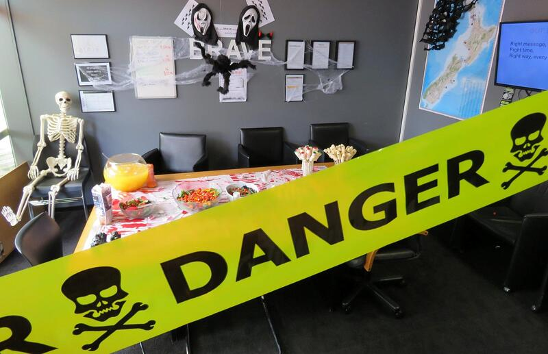 spooky decorated meeting room