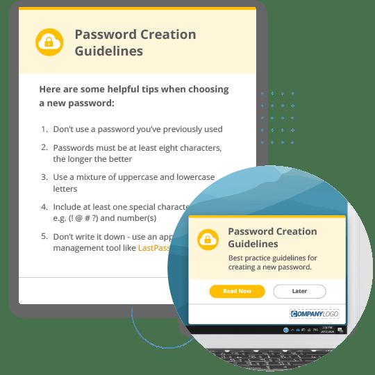 Password creation guidelines alert