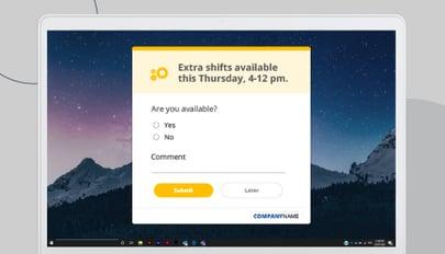 Registration desktop alert