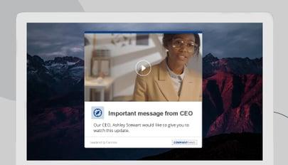 CEO message video alert on desktop