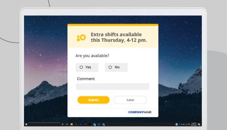 Desktop registration alert