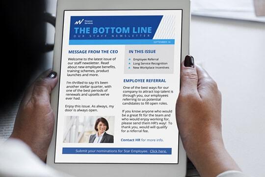 Newsletter on tablet