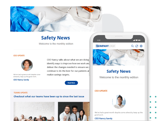 Workplace safety newsletter on phone