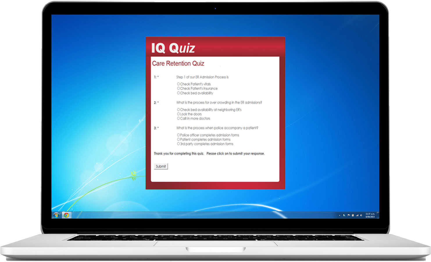 employee quiz example on laptop