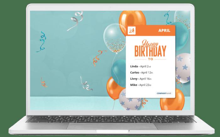 Happy Birthday staff reminder screensaver