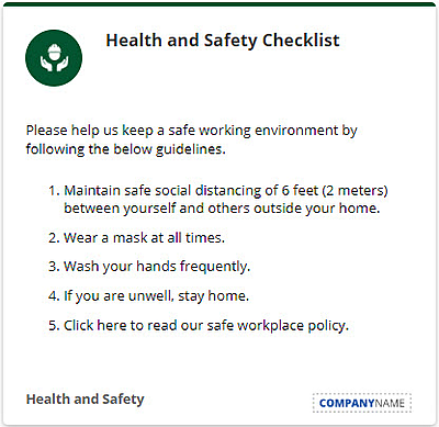 Health and safety checklist notification