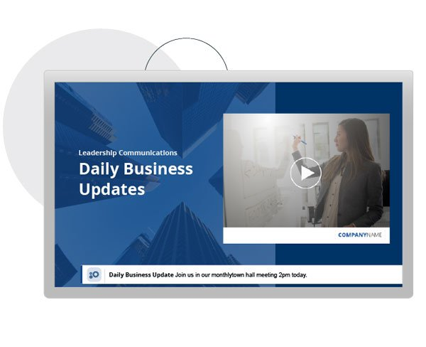 digital signage with business update video