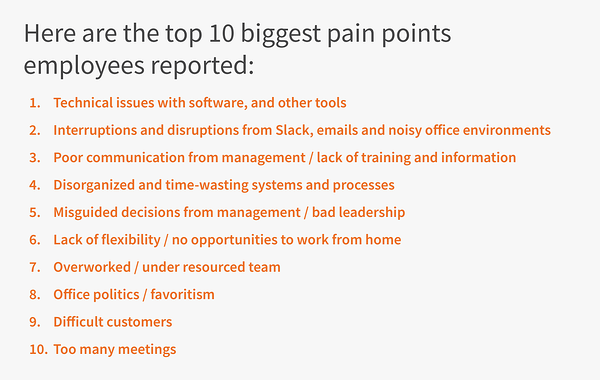 Top employee pain points