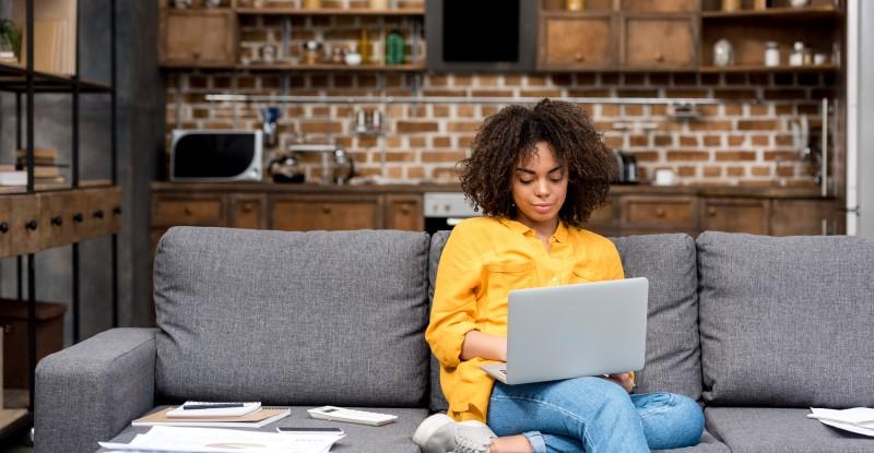 Employee reading newsletter