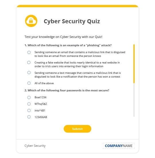 financial services cyber security quiz