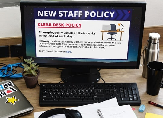 Clear desk policy alert message on pc