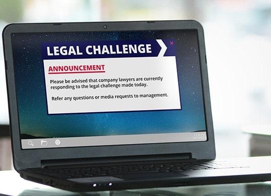 Legal challenge alert notice on desktop