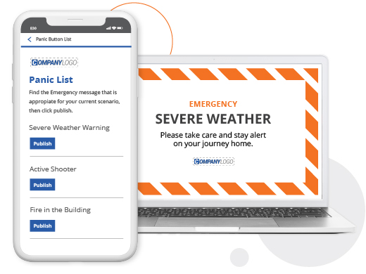 emergency weather alert and prepopulated panic notification list