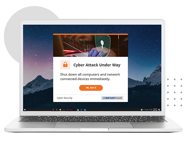 cyber attack desktop alert notification