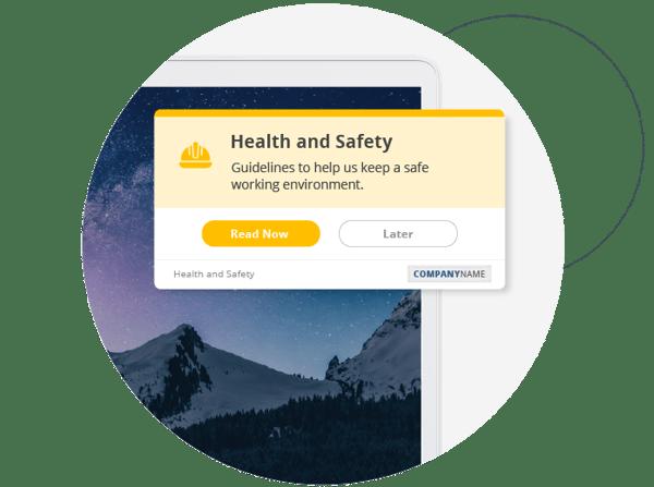 Health and safety desktop alert