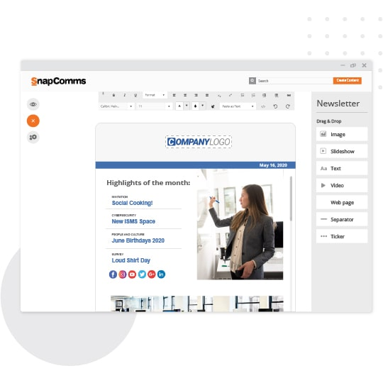 Newsletter content creation in SnapComms