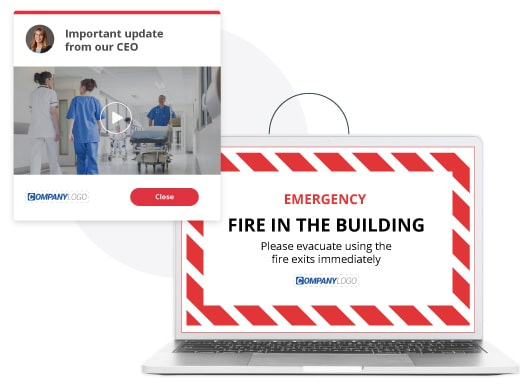 crisis communication alert and full screen alert