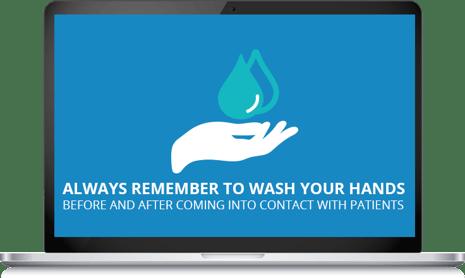 Hand hygiene screensaver