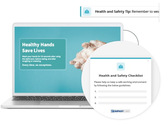 health and safety screensaver and checklist alert