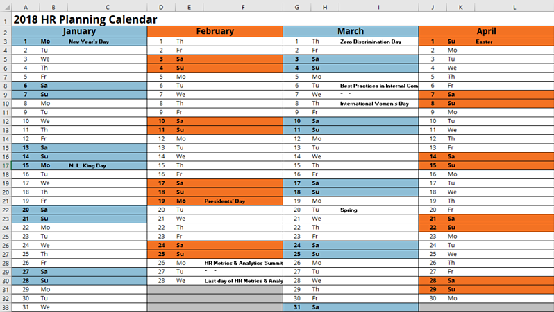 hr calendar for 2018