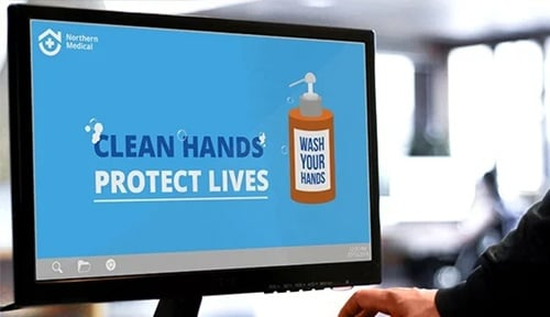 hospital desktop pc hand hygiene wallpaper