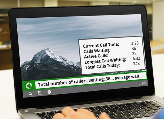 Ticker showing call center stats