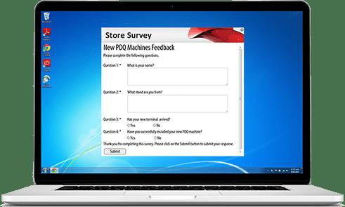 store survey on laptop