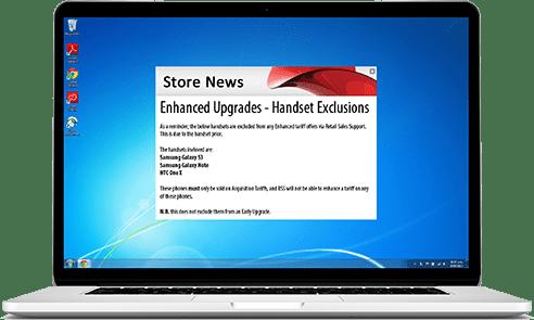 upgrade alert on laptop