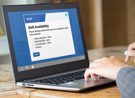 shift workers rsvp alert on laptop