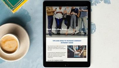 intranet newsletter on tablet