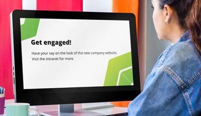 intranet screensaver viewed by employee