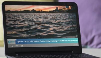 ticker on laptop screen