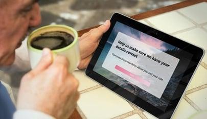 registration alert on tablet