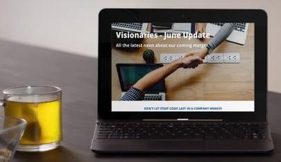 merger newsletter on laptop