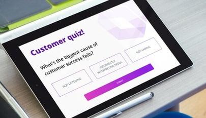 customer quiz on tablet