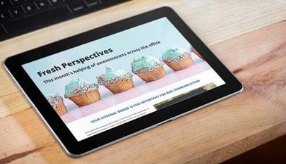 internal newsletter on tablet