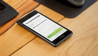 internal brand quiz on mobile