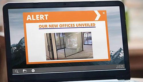 office move alert on laptop