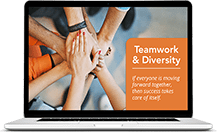Corporate screensaver message example