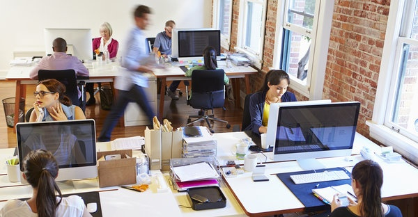 busy modern workplace