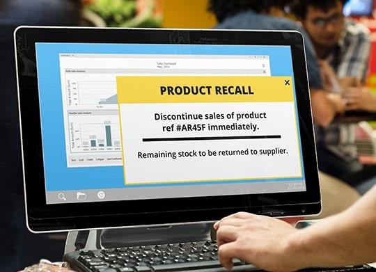 Product recall alert message