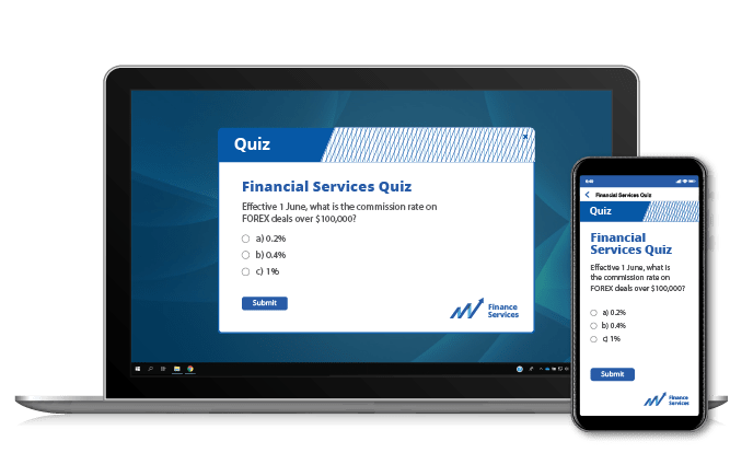Employee quiz on laptop and mobile