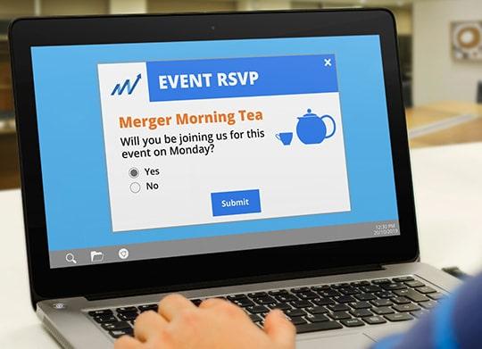 Internal merger morning tea rsvp invite