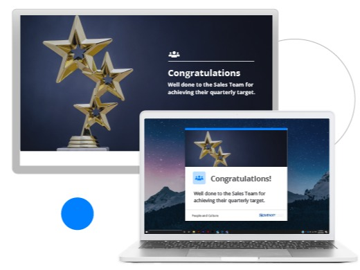 Sales team achievements screensaver and digital alert
