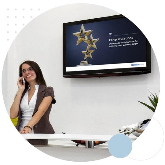 Screensaver on office digital signage