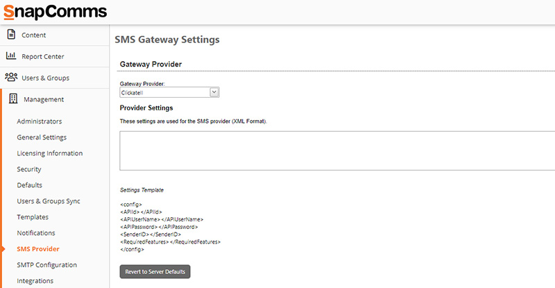 SnapComms SMS Settings