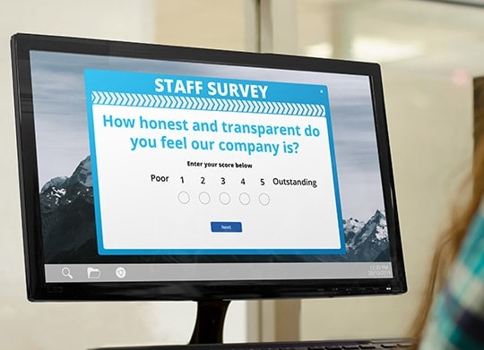 Employee survey on desktop