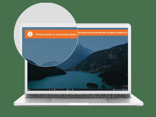 desktop ticker email server down