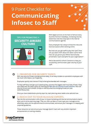 9 Point checklist for communicating infosec to staff
