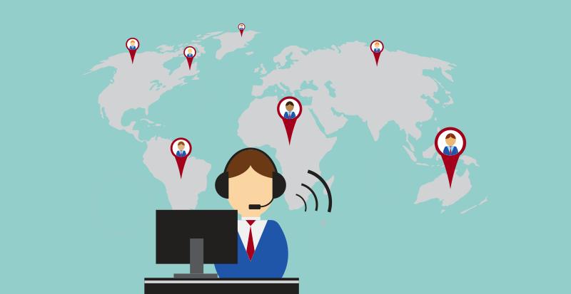 virtual call center worker